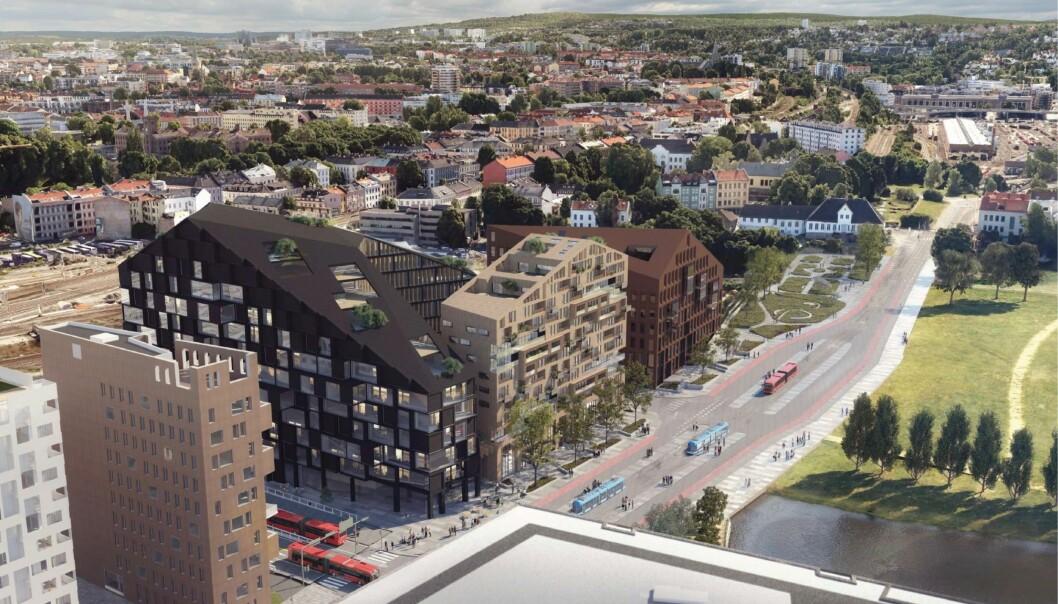 TRE BYGG: Planforslaget omfatter tre hovedbygninger med skrå takflater og en forlengelse av Trelastgata.