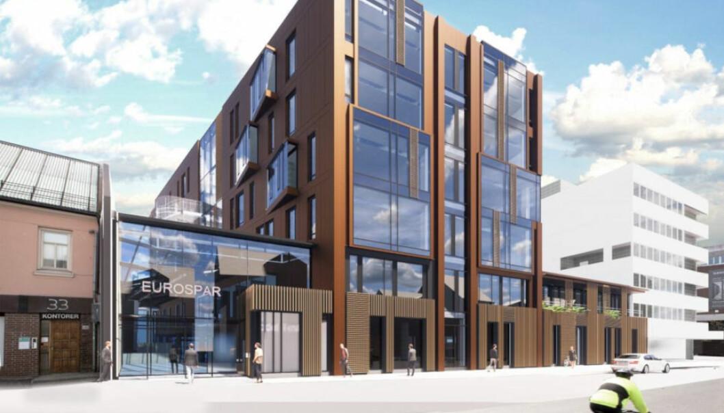NYTT: Tromsø-selskapet AS Pellerin står bak dette nye bygget i Storgata i Tromsø. Men på bakrommet har det vært mye krangel med bensinstasjonskjeden som var leietaker i de gamle bygningene som tidligere stod på eiendommen. (Ill.: AS Pellerin/Niels Torp Arkitekter)