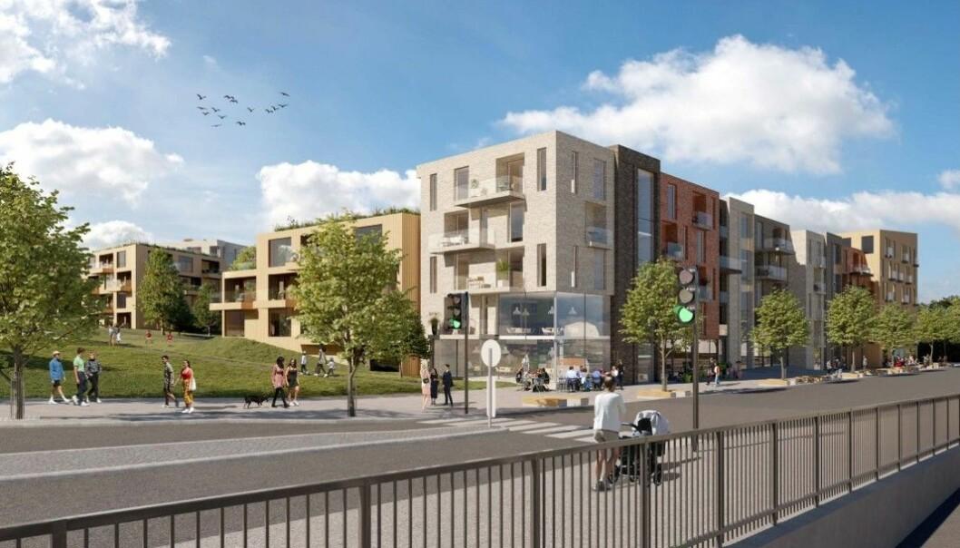 BOLIG OG NÆRING: I tillegg til boligene rommer prosjektet ca. 2.000 kvadratmeter næring.