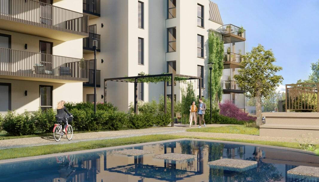 BORETTSLAG: Som de aller fleste andre prosjektene i regionen blir disse leilighetene solgt med innskudd og fellesgjeld.