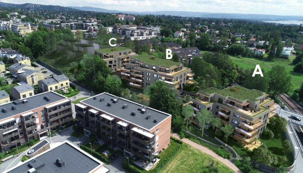 BLOKKER: Prosjektet består av 3 blokkenheter med 56 leiligheter.