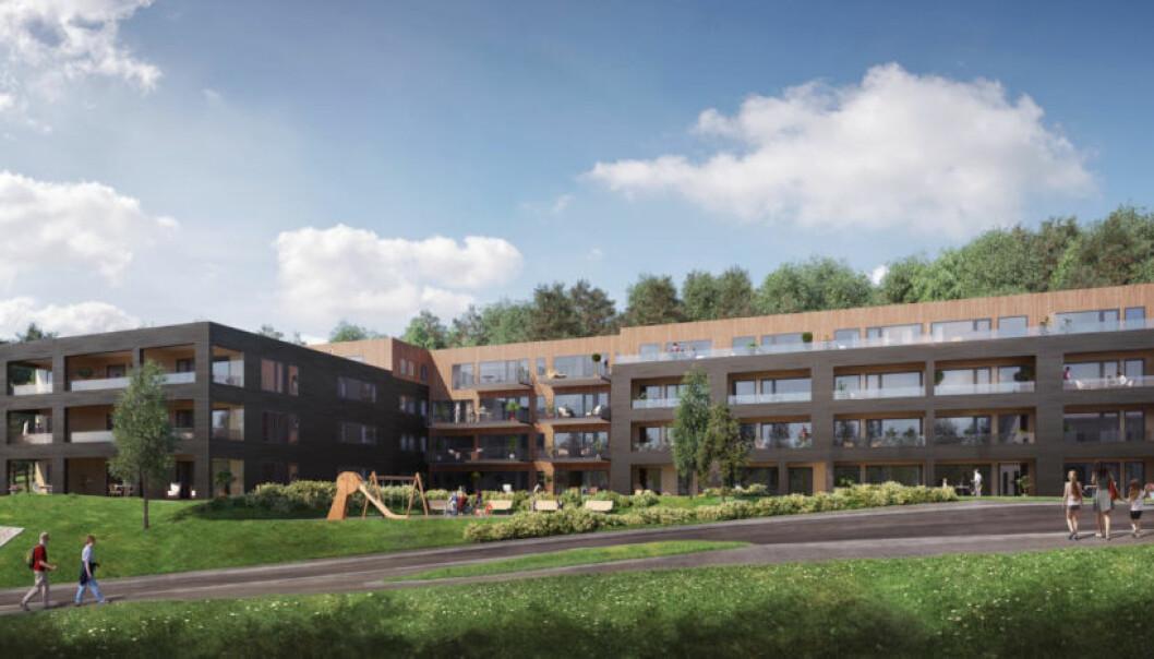 CANICA-PROSJEKT: Ferdigstillelsen av dette boligprosjektet på Rykkin i Bærum ble ferdigstilt senere enn planlagt. Først signerte kjøperne en avtale om engangskompensasjon for forsinkelsene, men deretter trakk de utbyggeren for retten med krav om dagmulkt. (Ill. Bakke Leiligheter AS)