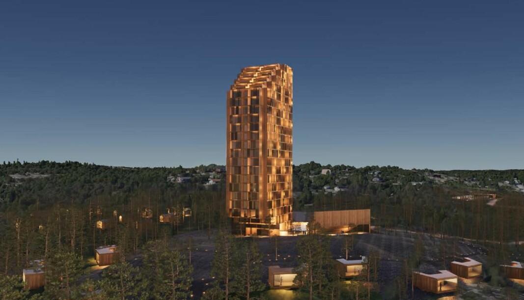 HOTELL: Dette er en tidlig prosjektskisse for planene på Hvaler.