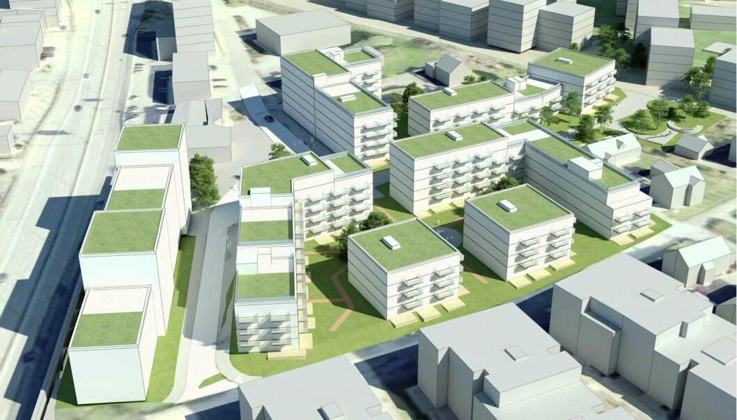 4-6 ETASJER: Både næringsbebyggelsen og boligbebyggelsen er planlagt i 4-6 etasjer.