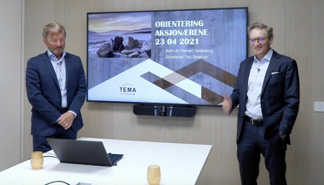 STERK VEKST: Adm direktør Reinert Seljeskog (tv) og styreleder Ted Skattum i Tema Eiendom har bygd opp et eiendomsselskap på Innlandet med en verdijustert egenkapital på 2,4 milliarder kroner.