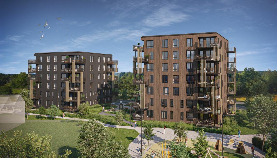 SALG: Første byggetrinn på Sandefjord Hageby er starten på en stor helhetlig utbygging.