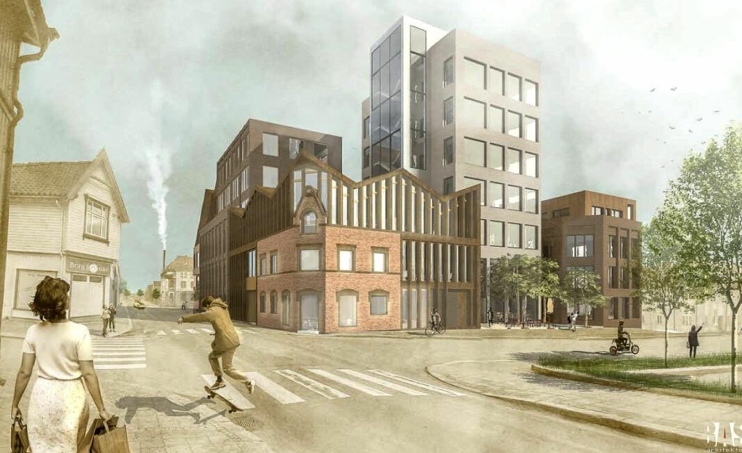 SKISSE: Dette er en skisse som viser hvordan Granskvartalet kan bli, inkludert de gamle fasadelementene på hjørnet.