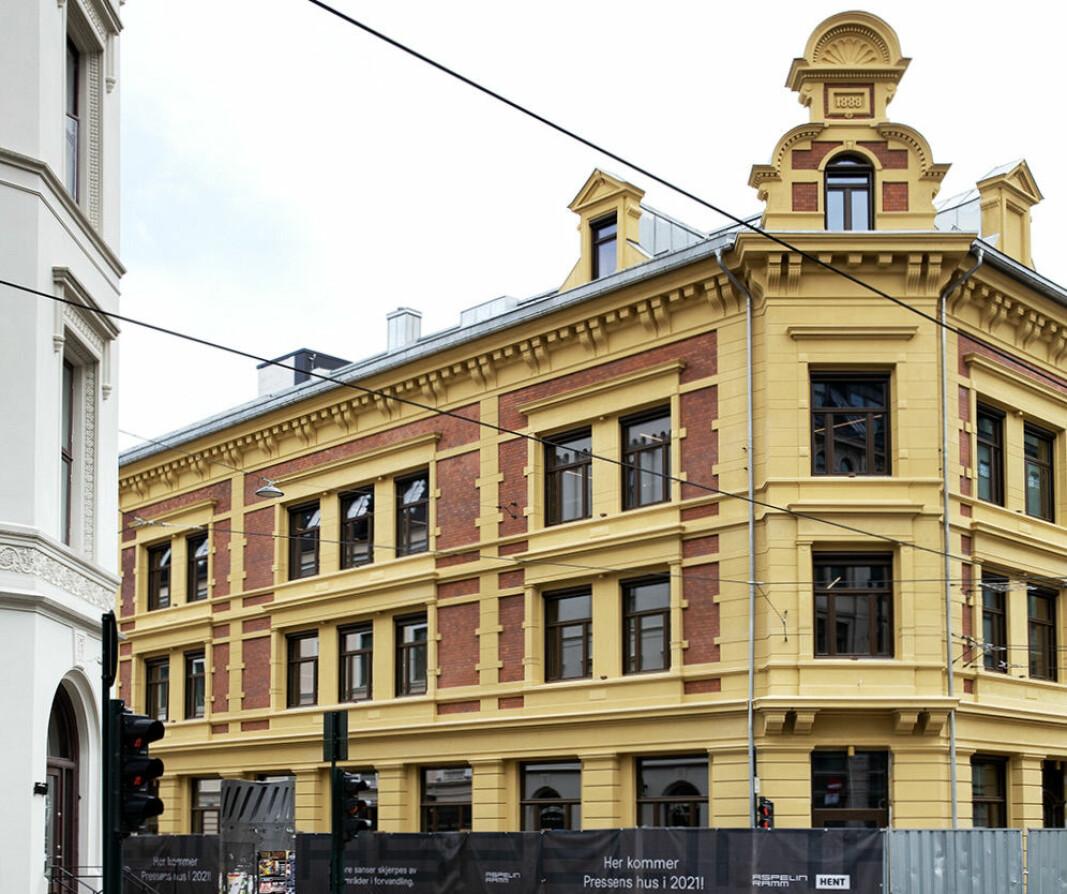PRESSEN: De to gamle bygårdene totalrehabilitert og klar til å huse elleve presseorganisasjoner.