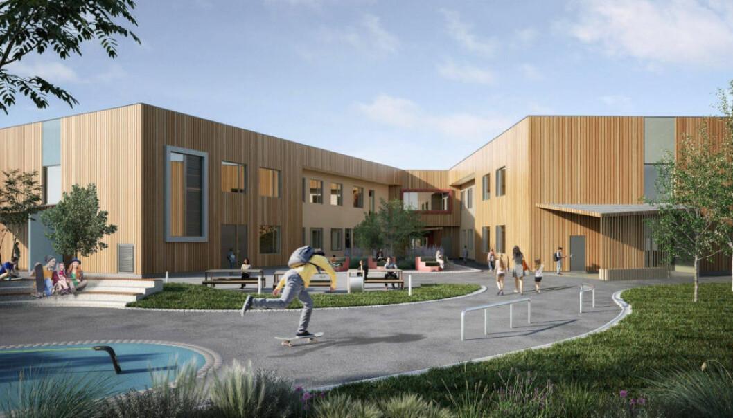 NYBYGG: 4500 kvadratmeter skole i Porsgrunn, som skal oppføres av Seltor.