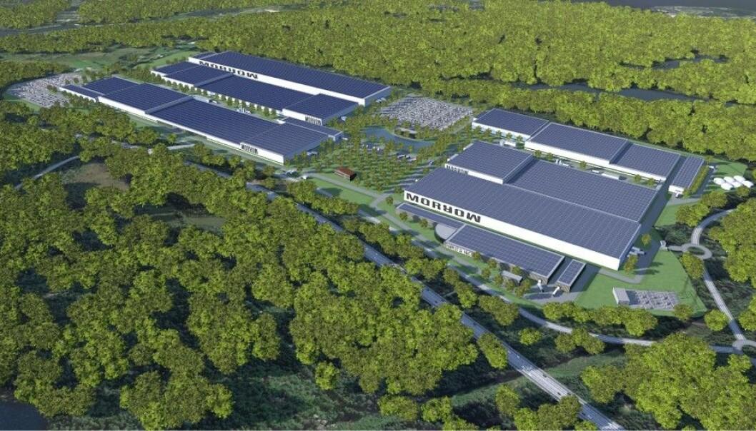 STORT: Slik kan Morrow's planlagte battericellefabrikk se ut når den er ferdig utbygd.