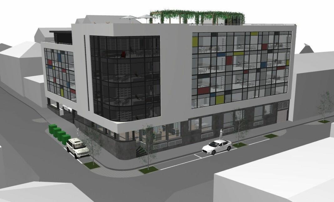 GRØNT LYS: Reguleringen tillater å bygge dette prosjektet på eiendommen i sentrum.