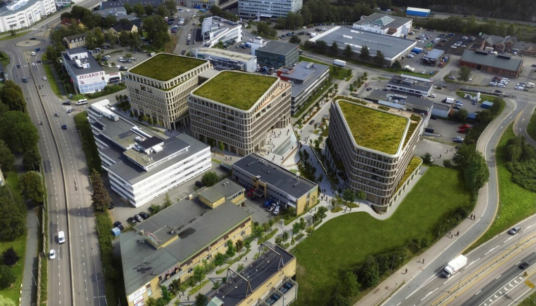 7-9 ETASJER: Forslaget omfatter tre bygningsvolumer på syv til ni etasjer.