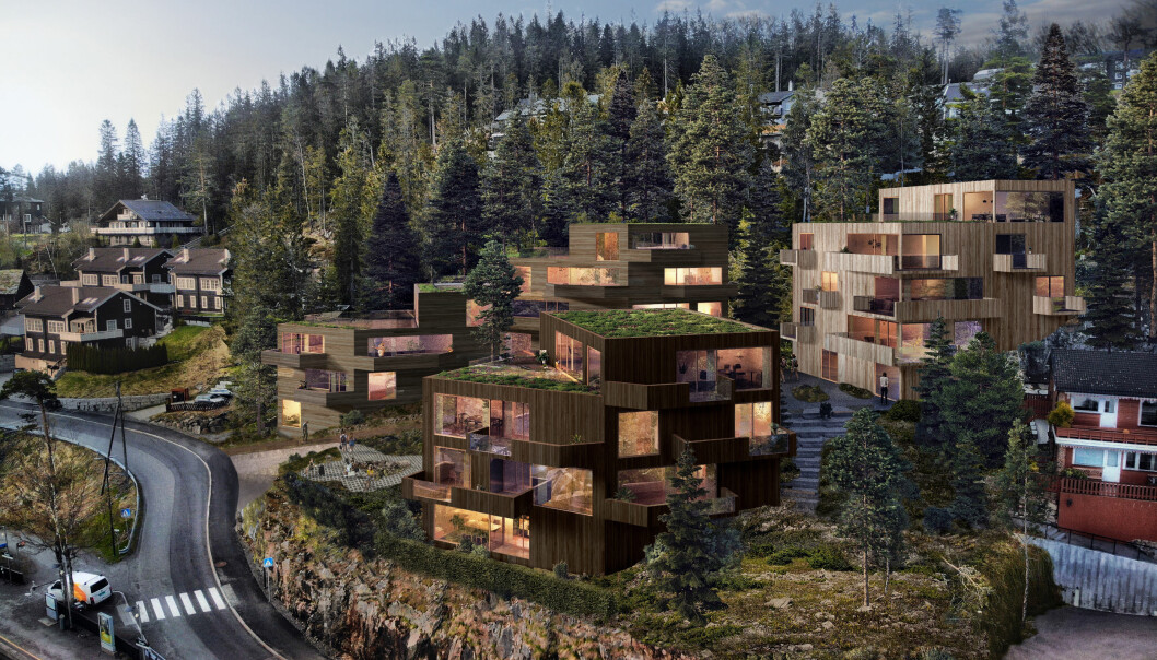 FØLGER TERRENGET: Hovedgrepet består av tre bygningsvolumer som følger terrengformen.