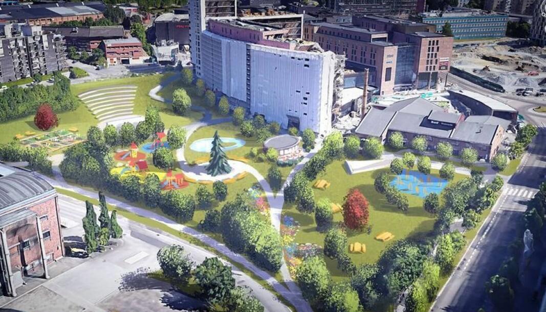 KJEMPER FOR PARK: Aksjonsgruppa, Ja til stor park i Nydalen, bestående av flere Nydalen-beboere, ønsker en park i Nydalen på minst 15 mål. Skissen på bildet viser en mulighet. Ill. fra gruppens Facebook-side.