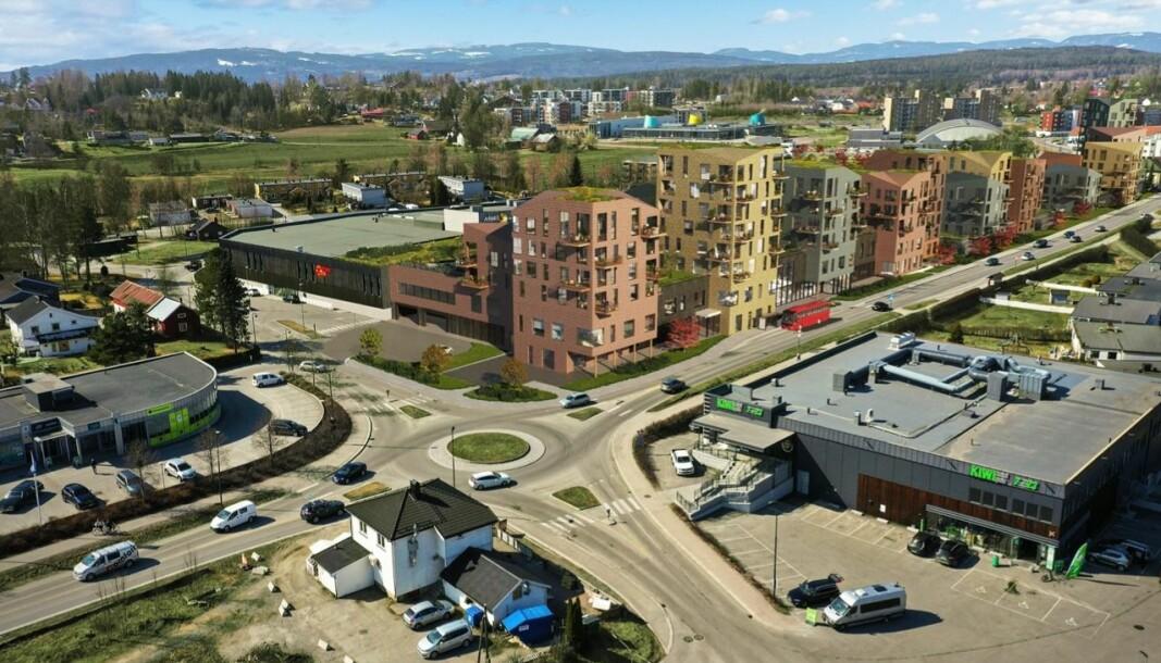 SENTRUM: I dag mangler det hurtig voksende tettstedet et markert sentrumsområde.