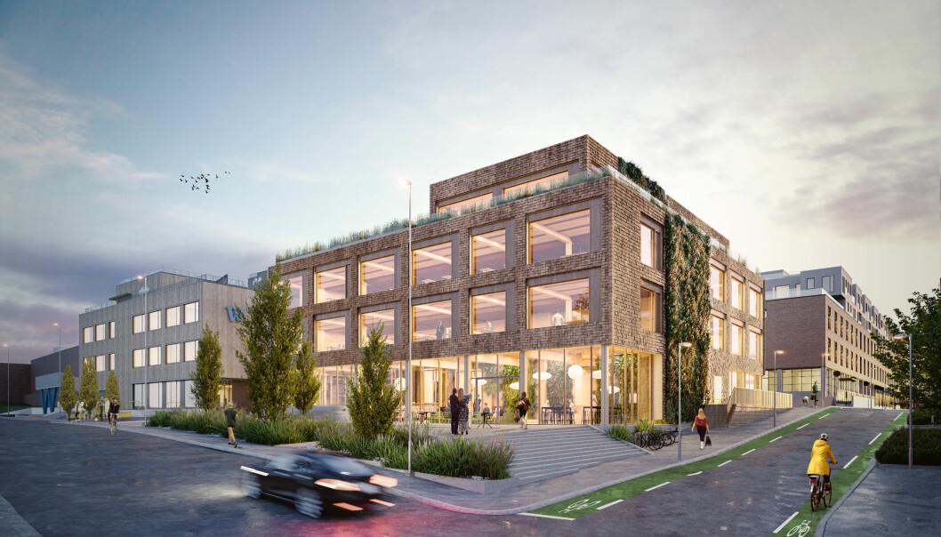 HASLETRE: Bygget har en bærekraftig trekonstruksjon, som både fanger opp overskuddskarbon i atmosfæren og sikrer et godt inneklima.