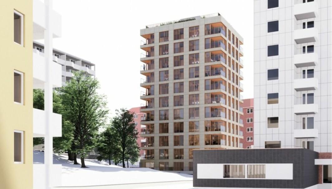 PUNKTHUS: Ifølge Element Arkitekter omfatter en nye forslaget «et renskåret volum med redusert fotavtrykk formet som et punkthus».