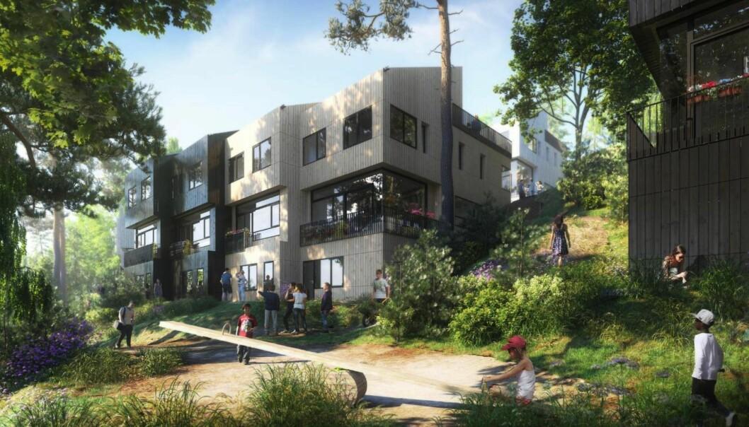 MUNKERUDGRENDA: Planforslaget legger opp til ny boligbebyggelse i 2-3 etasjer organisert som rekkehusbebyggelse i to rekketun.