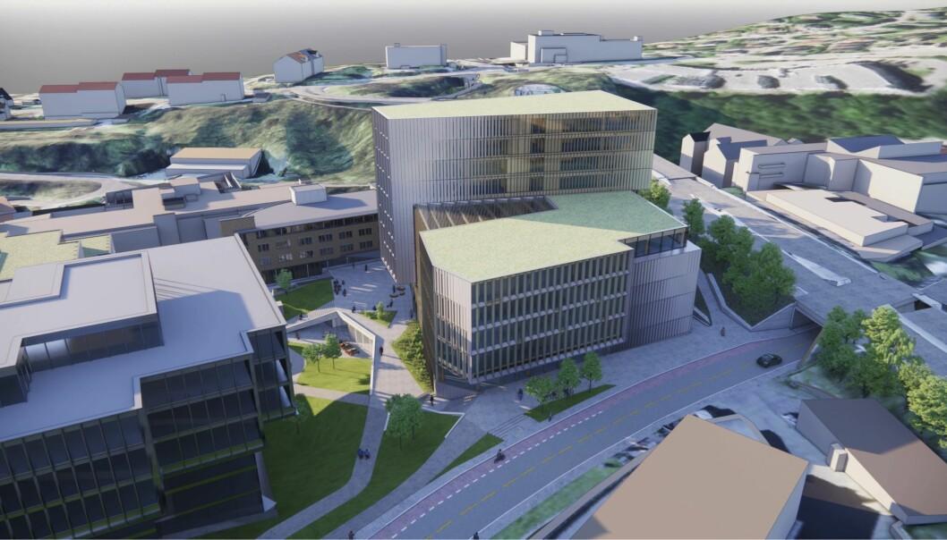 PARKAREAL: Bygningsvolumet er formet for å optimalisere størrelsen på parkarealet.