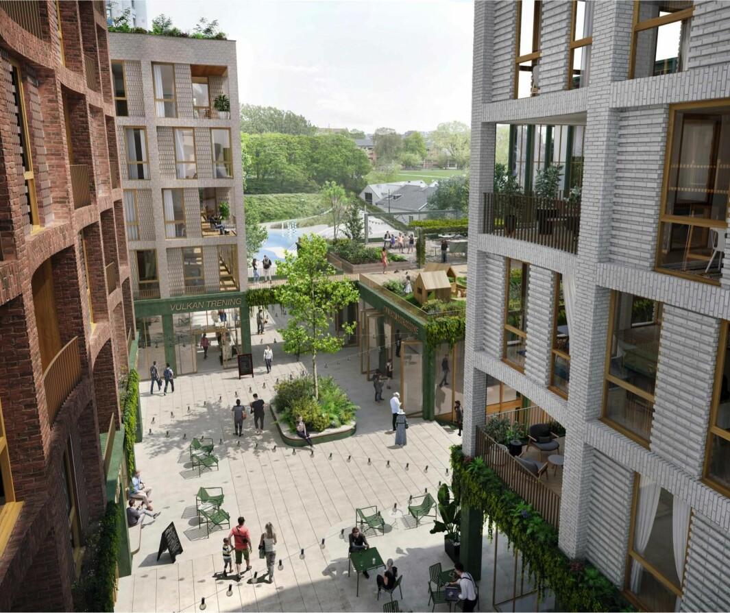 14.300 KVM: I henvendelsen til PBE skisseres det 14.300 kvadratmeter nybygg, hvorav 5.400 kvadratmeter er boliger.