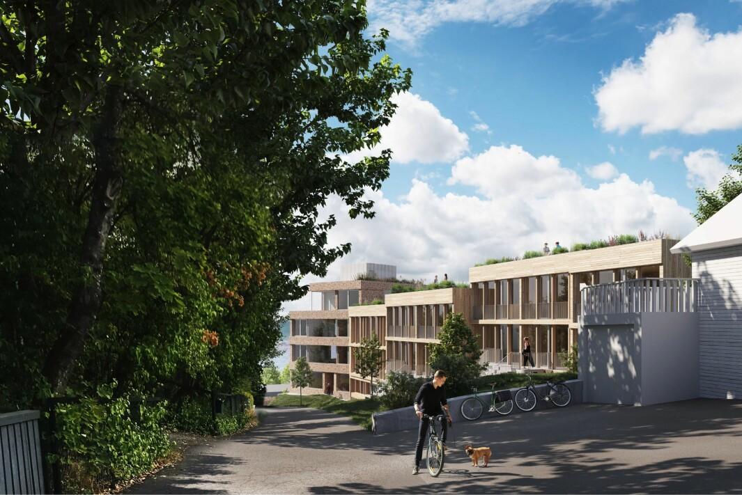 3-4 ETASJER: Rekkehusbebyggelsen får 3 etasjer mot Kirkehaugsveien, mens punkthuset er foreslått med 4 etasjer.
