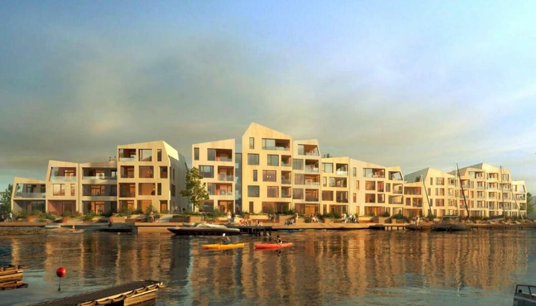 SJØ: Dette prosjektet skal bygges på ei øy midt i havnebassenget.