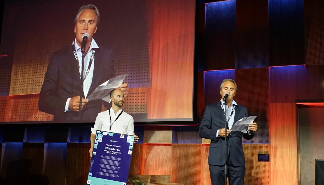 VINNERNE: Peter Malling (th) og Paal Andrè Slette, prosjektleder for Vedal Entreprenør.