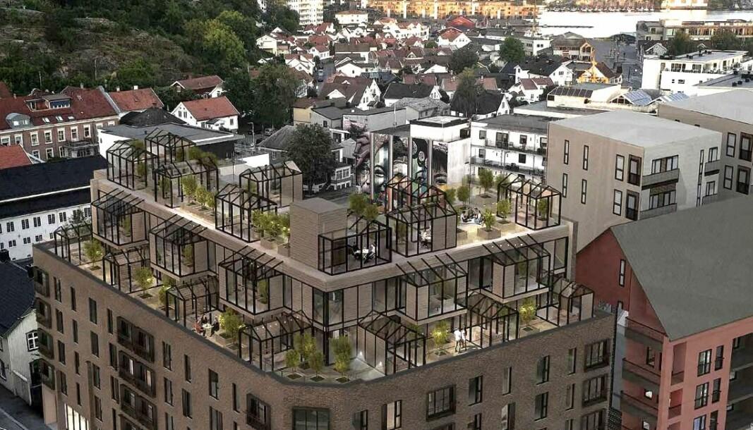 TAKET: Det nye boligbygget skal få et tak som innbyr til opphold i all slags vær, med blant annet felles drivhus.