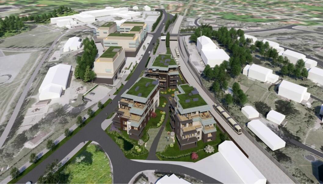 BLOKKBEBYGGELSE: De foreslåtte boenhetene er plassert i tre bygg.