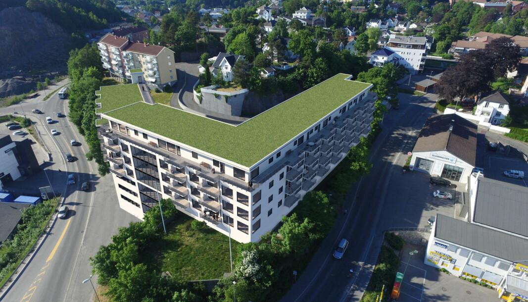 NYTT: Den gamle skolen rett utenfor sentrum skal erstattes med et kombiprosjekt. Denne skissen stammer fra tidlig i reguleringsprosessen.