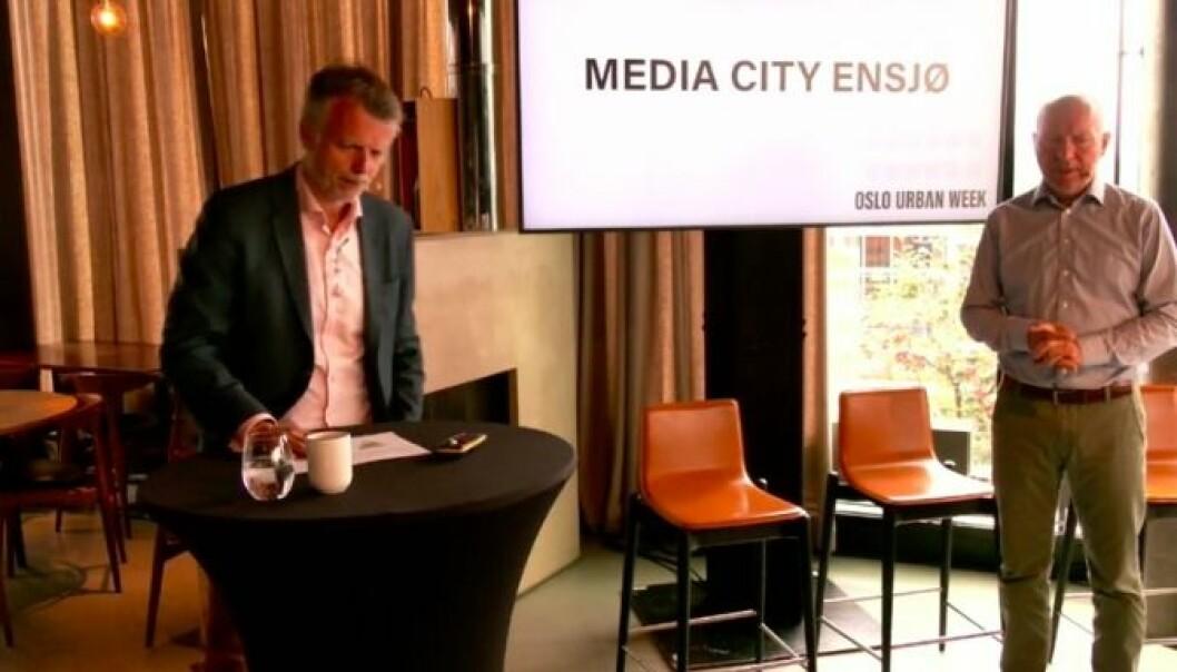 BYUTVIKLING: Erling Fossen, daglig leder i OMA, utfordrer Jon Espen Lohne, prosjektdirektør i NRK om hva NRK kan bidra med på Ensjø.