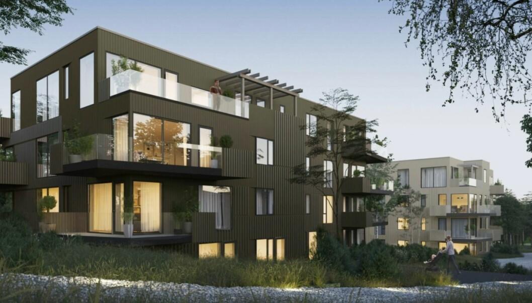 NY DEL: Dette er det kommende boligprosjektet i den nye bydelen.