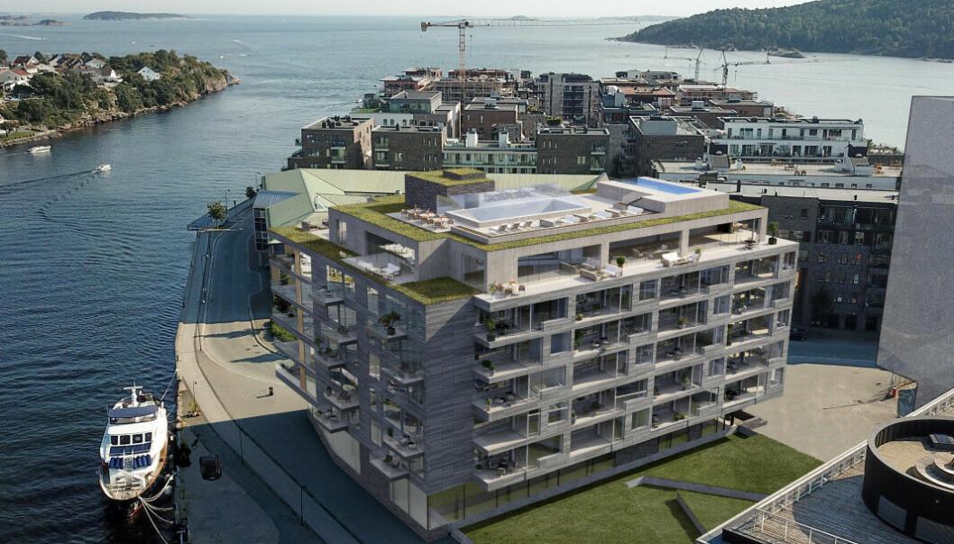 MANGE PROSJEKTER: Det er mange nye eiendomsprosjekter i Kristiansand. Her representert ved Oksøy Eiendoms boligprosjekt Tangen.