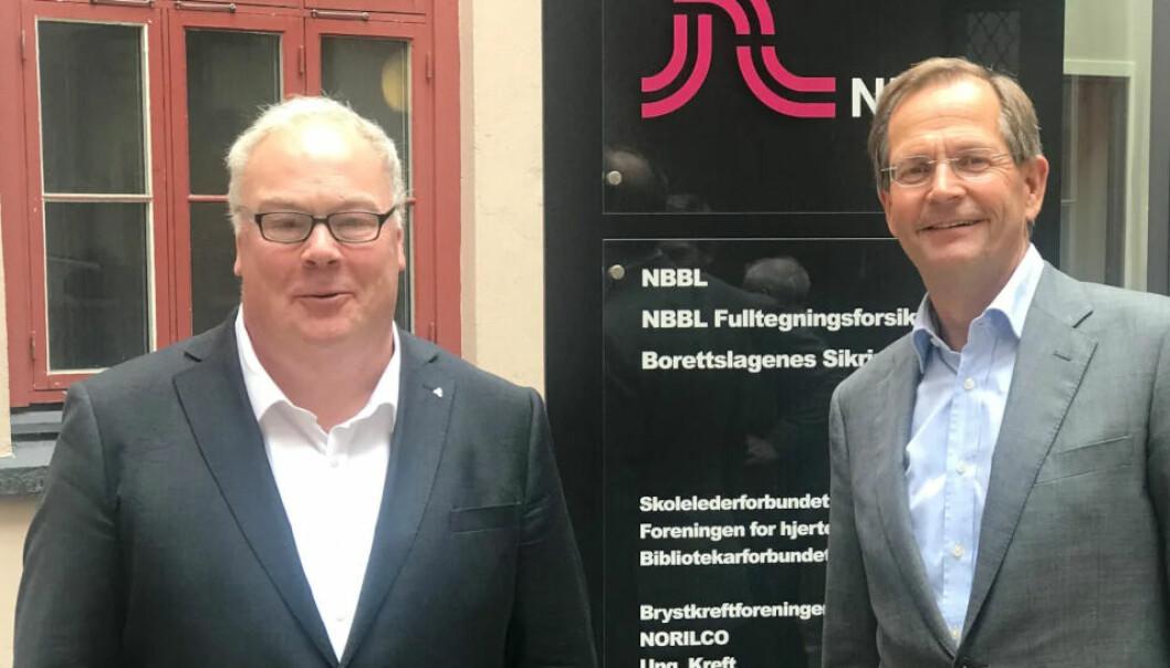 AVTALE: F.v. NBBL-SJEF Bård Folke Fredriksen og administrerende direktør Peder Chr. Løvenskiold i Anthon B Nilsen Eiendom.