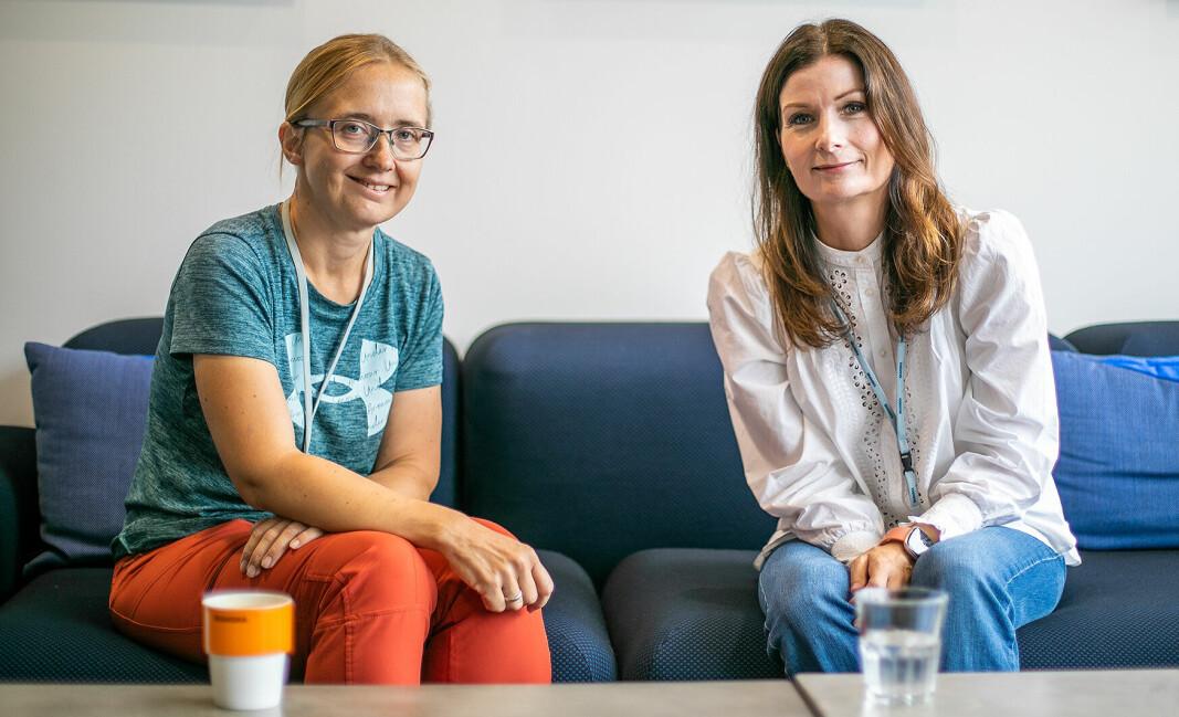 SAMARBEID: Antje Wiegand i Skanska Bygg og Kristine Kaalen i Skanska Eiendomsutvikling møtes for første gang etter nesten ett år.
