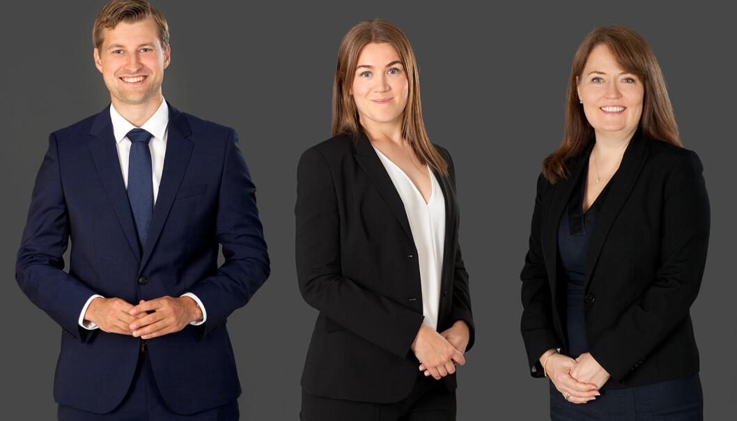 NYANSETTELSE: DLA Piper har ansatt Ida Halstvedt Gundersen (midten). Hun skal bistå klienter med plan- og bygningsrettslige problemstillinger, sammen med Anders Hilt og Tone Gjertsen. Click to add image caption