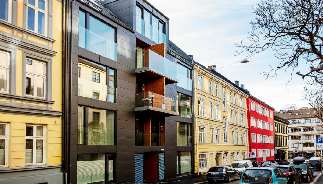 NYBYGG: Bonum-selskapet EGT5 AS, tidligere Bonum Prosjekt AS, står bak dette leilighetsbygget i Eugenies gate i Oslo. Til neste år skal de møte entreprenøren i rettssak i Oslo tingrett. (Foto: Bonum/Oslo kommune saksinnsyn)