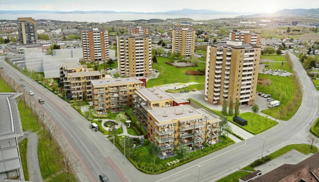 FORTETTIG: Nå blir det gamle borettslaget fortettet med mange nye leiligheter.