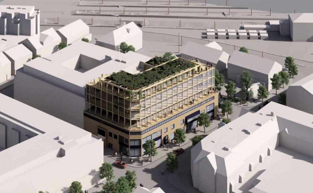 I HØYDEN: Dagens fire etasjer høye bygning skal bli til sju hvis eieren får gjennom planene sine.