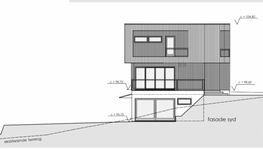 AVSLAG: Bærum kommune avslo dette byggeprosjektet og begrunnet det med at det ikke hadde gode visuelle kvaliteter. Etter det havnet entreprenøren og huskjøperen i krangel med hverandre. (Skjermdump Bærum kommune byggesak)
